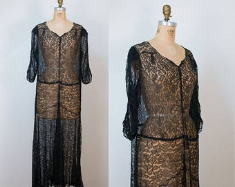 1930s Black Lace Dress / 30s Dress