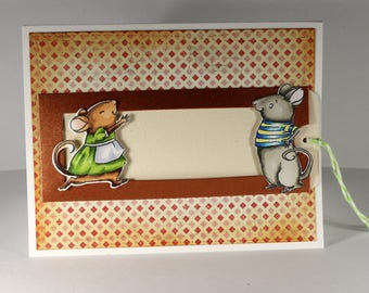 LOVE - Mouse Slider Card with Green Twine