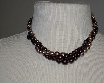 Vintage RMN Faux Pearl Triple Strand Necklace