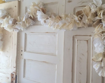 Burlap Wedding Decoration. Vintage Fabric and Burlap Garland. Cream and White, 6-10 foot Handmade Garland for Wedding or Bridal Shower