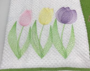 3 Tulips on Terry Tea Towel - Machine Embroidery