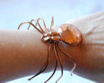 Vintage Copper Metal Spider Bangle Bracelet  1960's