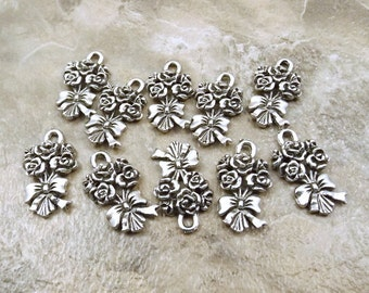 10 Pewter Flower Bouquet Charms -   5301