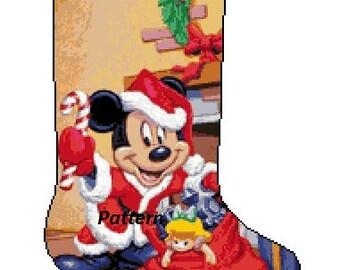 Mickey Mouse Christmas Stocking. Cross Stitch Kit.