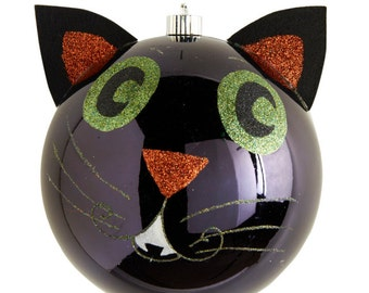 "5"" Black Cat Ornament/Wreath Enhancement/Halloween Decor/40519B"