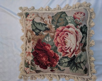 Vintage Wool Embroidered Needlepoint Pillow Cover