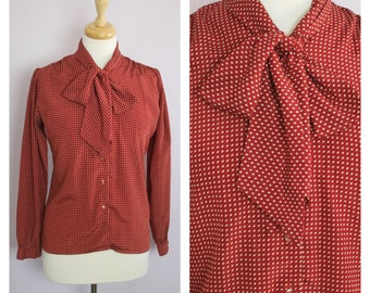 Vintage 1980's Rust Red Polka Dot Bow Tie Blouse M