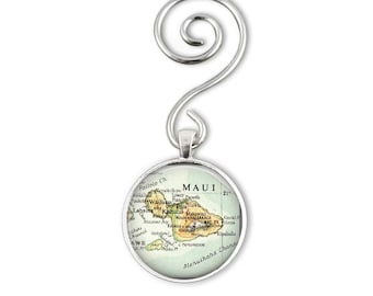 Custom Ornament, Personalize Hawaiian Ornaments, Husband Gift, Maui Hawaii Ornament photo gift, Travel Ornament, hawaii map ornament