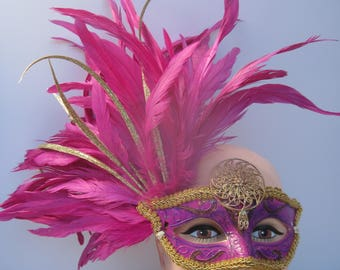 Fuchsia Feathered Masquerade Half Mask with Gold Accents