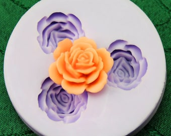 3-cavity Rose Flower Resin Mold Polymer Clay Mold Flexible Silicone Mould Candle Candy Cake Fimo Resin Crafts