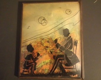 Vintage K.W. Diefenbach Silhouette Man with Boy and Bubbles Frame