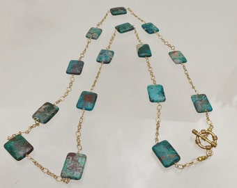 CLEARANCE SALE 50% OFF Chrysocolla beads and gold chain necklace