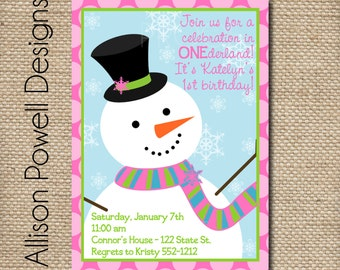 Snowman - Winter Wonderland Birthday Party - Girl - Custom Digital Birthday Party Invitation - Snowman