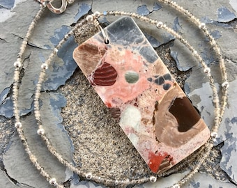 Conglomerate Jasper and Sterling Silver Necklace