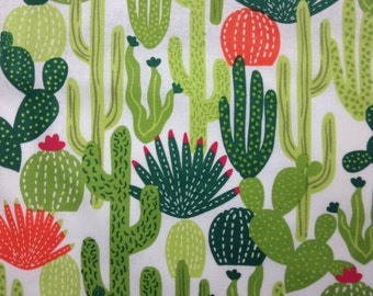 One Half Yard of FLANNEL Fabric Material - Cactus White,  FLANNEL Cactus Fabric