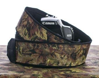 Camera Strap dSLR, Camo, Camera Neck Strap, Camouflage, Canon or Nikon camera strap, Men's camera strap, SLR, Pocket,016