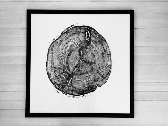 Large Tree Ring Art Print, Sundance Canyon art, Fathers Day Gifts, Huge tree ring Art, woodcut Print, hand pressed, nature inspired art