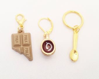 Chocolate Stitch Markers// Hot Chocolate Progress Keeper//  Chocolate Lovers Knitting Markers