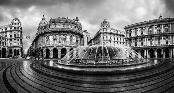 Piazza de ferrari genoa liguria italy fountain black and