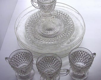 Indiana Glass Diamond Point Clear Snack Set Service for (4) Snack Plates, Snack Cups, Vintage, 1960's, New in Original Box