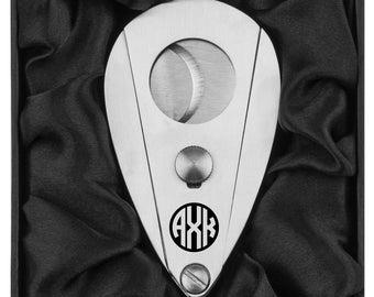 Monogram Engraved Stainless Steel Cigar Cutter In Black Silk Lined Gift Box Personalized Custom Groomsman Best Man Groom Wedding Party Gift