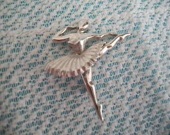 Ballerina Dancer Silver Tone Brooch or Pin/Christmas/Ballerina Pin/Silver Tone/Dancing Brooch/Holiday Gift/Christmas Gift