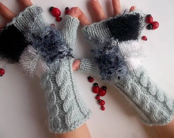 Women M 20% OFF Gloves Ready To Ship Fingerless Mittens Hand Knitted Cabled Bohemian Arm Warm Boho Accessories Wrist Warmers Winter Wool 756