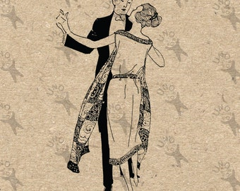 Vintage black and white Dancing Couple Lady Monsieur retro drawing Instant Download picture Digital printable clipart  graphic HQ300dpi