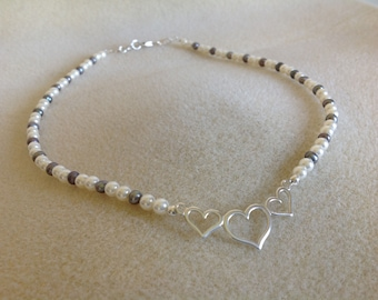 Pearl and Sterling silver triple love heart necklace