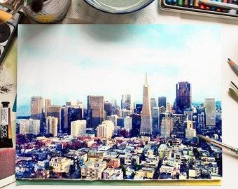 SAN FRANCISCO #1 Watercolor Rolled Skyline Print San Francisco California Skyline Oil Painting Canvas Landscape Panorama Art Print Painting