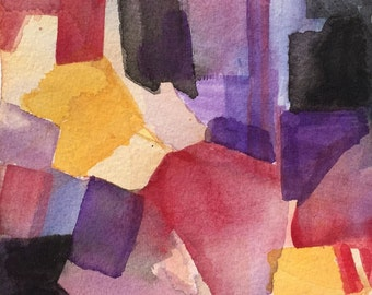 "Watercolor abstract 9"" x 6"" signed original painting"