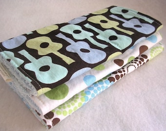 Baby Boy Burp Cloth Gift Set - Groovy Guitar - Set of 3 with terry cloth backing