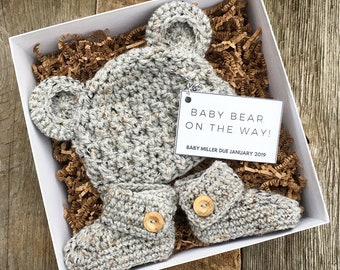 Pregnancy Announcement Gift Set - Baby Bear Due - Gift Box - Grandparents to be - Reveal - Newborn - Photography Prop