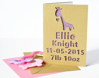 Personalised Giraffe Glitter Cut-out Card - New Baby Card - Card for Child - Card for Kids - Christening Card