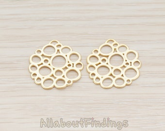 PDT520-MG // Matte Gold Plated Bubble Round Pendant, 2 Pc
