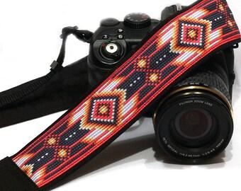 Native American Camera Strap (inspired). DSLR Camera Strap. Black and Red Camera Strap. Camera Accessories