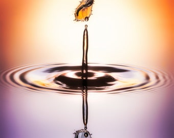 Macro Photography | Water Drop | Liquid Sculpture | Orange-Red | Orange | Purple | Violet | Lilac | Mauve | Wall Art | Hell Toupee