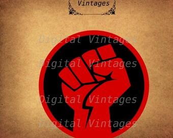 Red Power Fist Logo Fight Illustration Vintage Digital Image Download Printable Graphic Clip Art Prints HQ 300dpi svg jpg png
