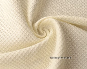 Ivory WAFFLE Cotton Fabric, Waffle Weave Fabric, Waffle Check Fabric Cream Cotton- 1/2 yard