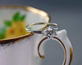 Ena - Cubic zirconia gemstone ring, cubic zirconia engagement ring, cubic zirconia wedding ring, diamond alternative, conflict free diamond