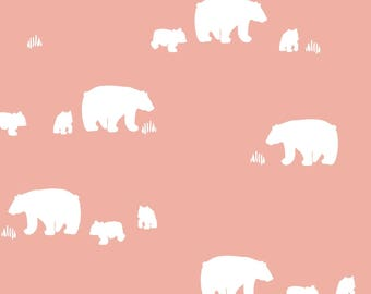 woodland crib bedding- girl crib sheet- coral pink baby bedding- fitted crib sheet / mini crib sheet/ changing pad cover- bear crib bedding