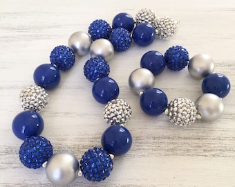 Blue and Silver Bubblegum Necklace, Winter Bubblegum Necklace, Royal Blue Baby Necklace, Toddler Chunky Bubblegum Necklace, Kids Necklace
