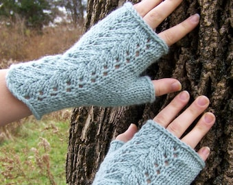 Fingerless Gloves Knitting PATTERN PDF, Knitted Fingerless Mittens Pattern, Lace Fingerless Mitts Knitting Pattern - Isabel