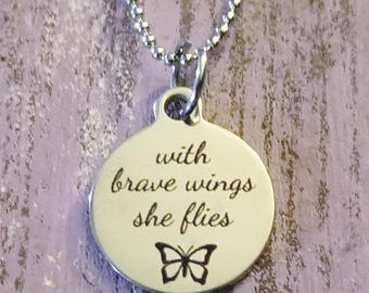 With Brave Wings She Flies Necklace, Inspirational Gift, Quote, Charm Necklace, Charm Necklaces, Quote Jewelry, Sobriety, Sobriety Gift