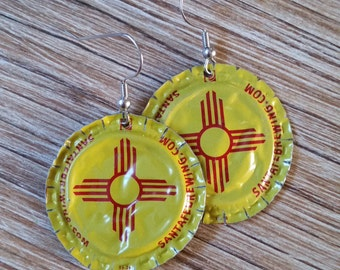 Santa Fe Brewing, Zia, Flattened Bottle Caps, Upcycled Earrings, New Mexico Flag, Zia Symbol, Beer Jewelry