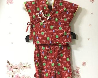 Toddler Kimono, Red Frog Design, Baby Kimono, Child Kimono, Baby Gifts, Baby Jinbei, Photo Prop Idea, Ninja Outfit, Kawaii