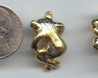 "2pcs. Vintage Stamped ""Ddk"" Gold Bear Findings 765a"