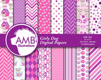 Puppy Dog Papers, Dog digital papers, Pink Puppy Papers, Pet digital papers, Paws pattern papers, invites, card making and crafts, AMB-1925