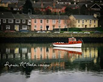 Ireland photo, lake house decor, Kinsale print, film photography, old fishing boat, irish decor, Irish landscape, colorful photo, travel art