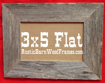 """3X5 1 1/2"""" Flat Unfinished rustic barn wood aged weathered custom repurposed primitive barnwood photo picture frame 3"""" x 5"""""""